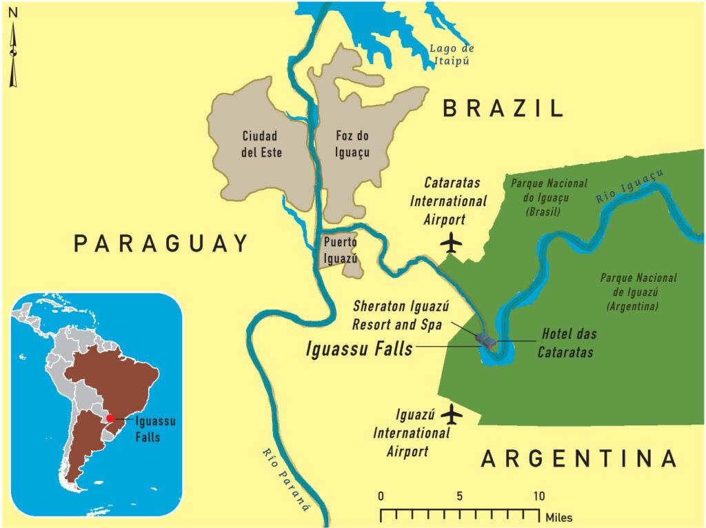 De kaart van de Iguazú / Iguaçu watervallen op de grens van Argentinië, Brazilië en Paraguay.